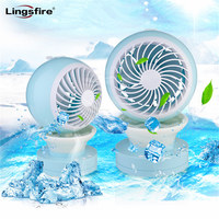 USB Desk Fan 2 Speeds Misting Fan Personal Mini Fan with 7 Colors LED Lights Changing Mood Lamp for Home Office Bedroom