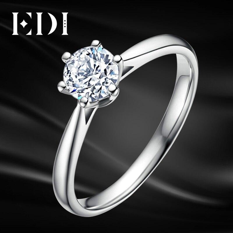 EDI 0.4ct Solitaire Moissanites Anneau 4 Prong Réglage 925 Sterling Argent Lab Grown Diamond Ring Pour Les Femmes Bandes bijoux fins