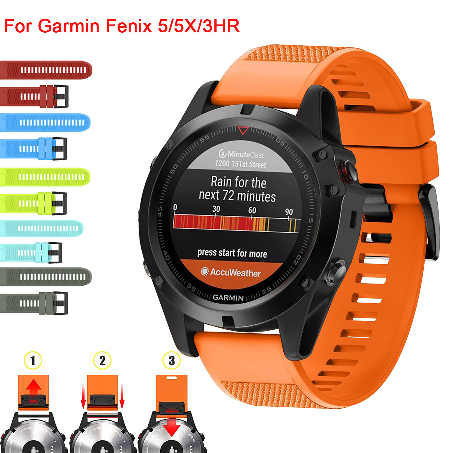 26 22 20MM Watchband Strap For Garmin Fenix 5X 5 5S Plus 3 3HR D2 S60 Watch Quick Release Silicone Easyfit Wrist Band Strap