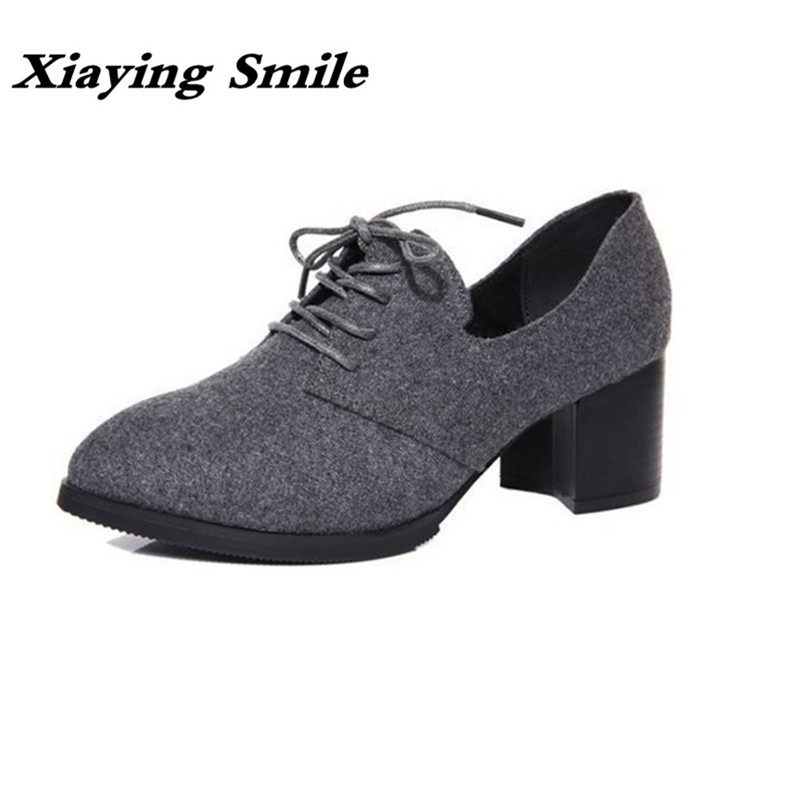 Xiaying Smile New Spring Autumn Women Pumps British Style Fashion Casual Lace Shoes Square Heel Pointed Toe Canvas Rubber Shoes xiaying smile summer woman sandals fashion women pumps square cover heel buckle strap fashion casual concise student women shoes