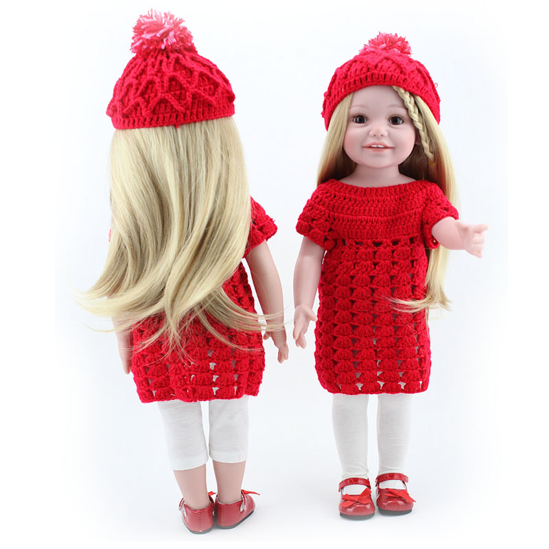 Hot sale 18 inch top quality full vinyl american Lifelike Realistic Cute Baby girl doll with long hair smiling princess toys lifelike american 18 inches girl doll prices toy for children vinyl princess doll toys girl newest design