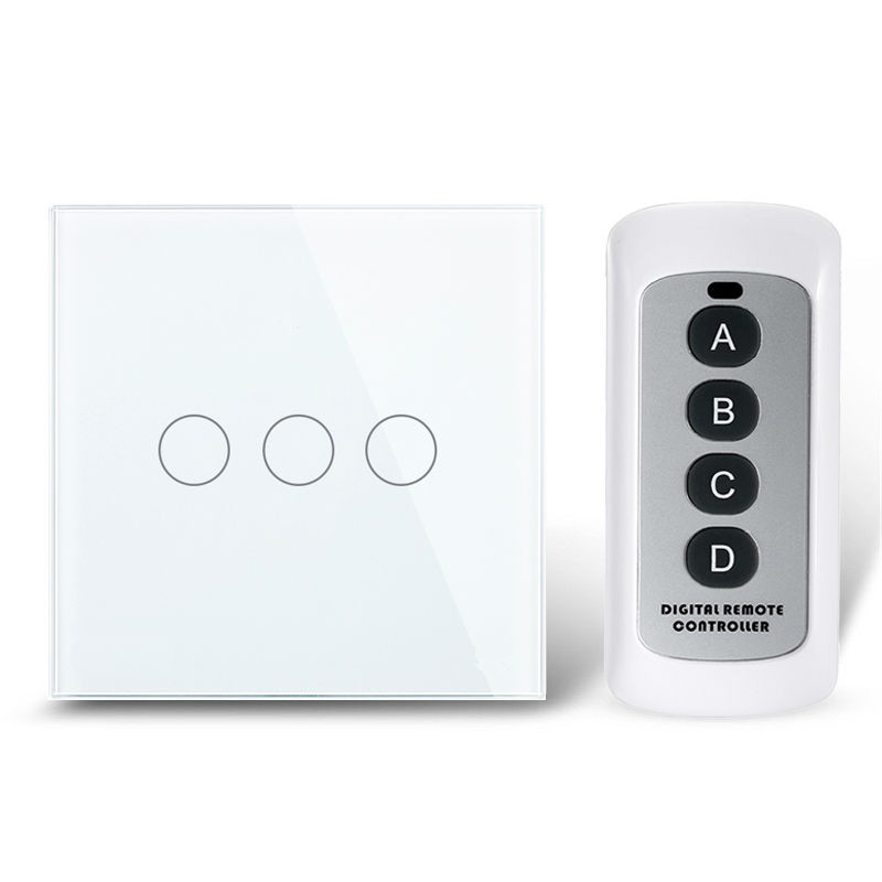 EU/UK 3 Gang 1 Way Remote Control Light Switch ,Crystal Glass Panel Touch Switch ,Touch Wall Light Switch For Smart Home RF 433 white 1 gang 1 way led crystal glass panel light touch screen remote switch for light with wireless remote control 110v 220v