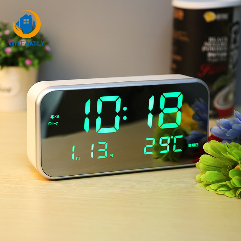 Calendar Temperature Mirror Watch Luminous Electronic Nixie Clock of Home Decora LED Large Number Display Table ClockCalendar Temperature Mirror Watch Luminous Electronic Nixie Clock of Home Decora LED Large Number Display Table Clock