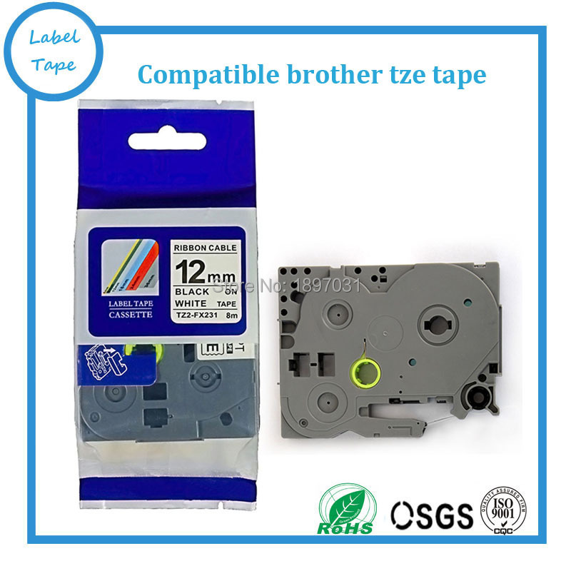 Label Tape for Brother TZ TZe231 P-Touch all Colours Materials 6//9//12//18//24//36MM