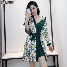 купить UNLIMON Women Stain Pajamas V Neck Dress Long Sleeve Robe Sleepwear Sets дешево