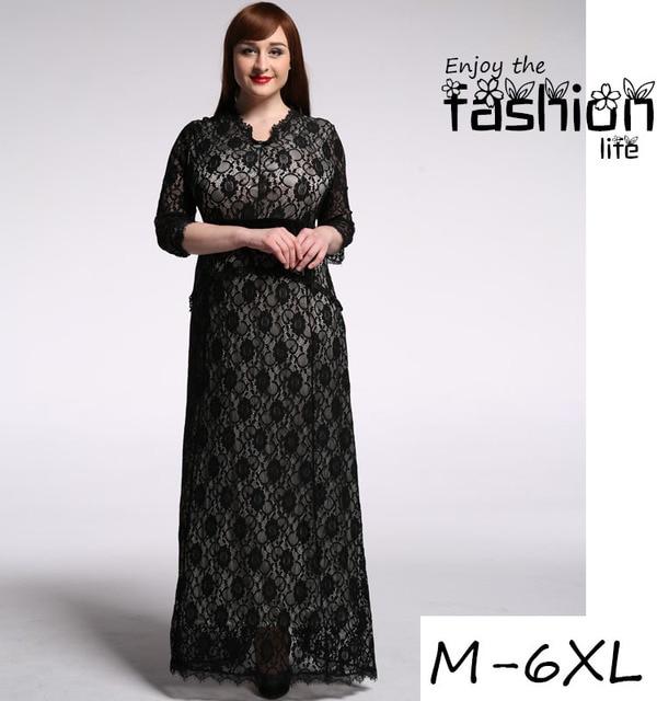 High quality plus size lace women dress slim 3/4 sleeve long dress ...