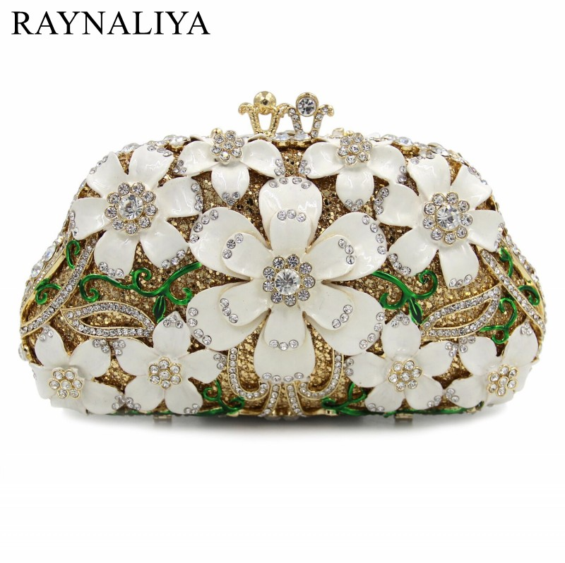 Luxury Handbags Women Bags Designer Wedding Bridal Flower Crystal Clutch Bag Evening Purse Chain Shoulder Purses SMYZH-E0351 luxury designer gold clutches flap women evening bags long chain tassel shoulder bag wedding party rhinestone clutch purse l897