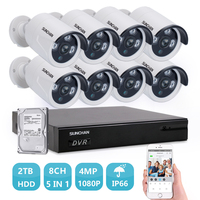 SUNCHAN Ultra HD 4MP 8CH Video Security System 8pcs 3840TVL 4 0Megapixel Waterproof IP66 Bullet Cameras