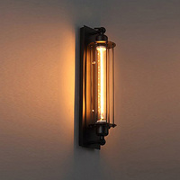 Retro Black Flute Wall Candle Holder  Antique Lamp Industrial Style Lamp Metal Corridor Wall Lighting Hallway Balcony Gallery Wall Lamps     -