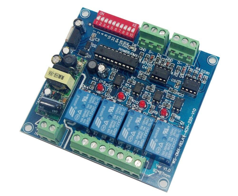 کنترل کننده سوئیچ رله 4CH DMX512 4 ردیاب رسیور رمزگذار ورودی AC110-220V ، هر کانال حداکثر 5A