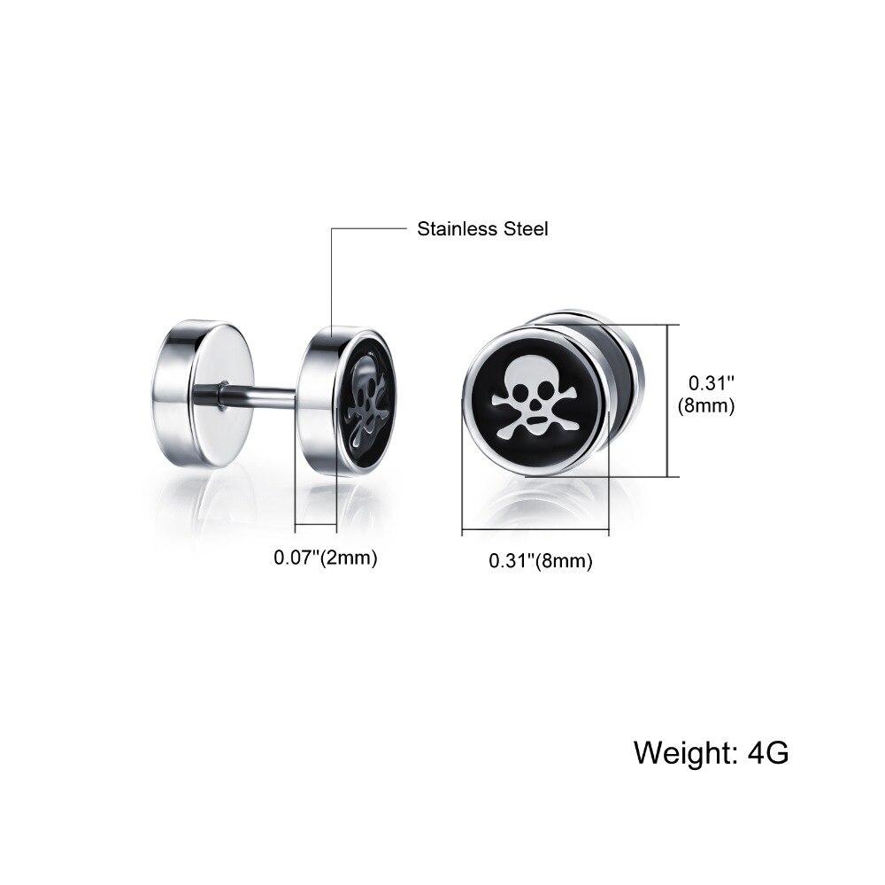 Men earrings screw back black earring for men stud earrings w/ skull stainless steel earring jewelry punk wholesale GE305