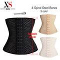 Mujeres faja de cintura cincher S-5XL 4 deshuesado acero negro Plus size srta. cinturón cintura trainer entrenador cintura corsés caliente shapers