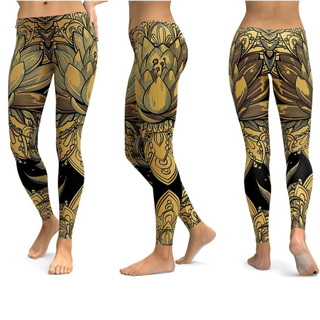 Print Yoga Pants Women Unique Fitness Leggings Workout Sports Running Leggings Gym Wear Elastic Slim Pants
