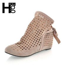 HEE GRAND Euro 34~43 Spring Autumn Hollow Out Perforated Women Boots Ankle Boot Inner Wedge Woman Shoes Plus Size XWX092
