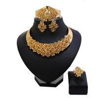 סיטונאיים נשים האופנה בציר יהלומים מלאכותיים כלה סט תכשיטים בצבע זהב גביש סט תכשיטי חרוזים אפריקאים כלה ניגרית