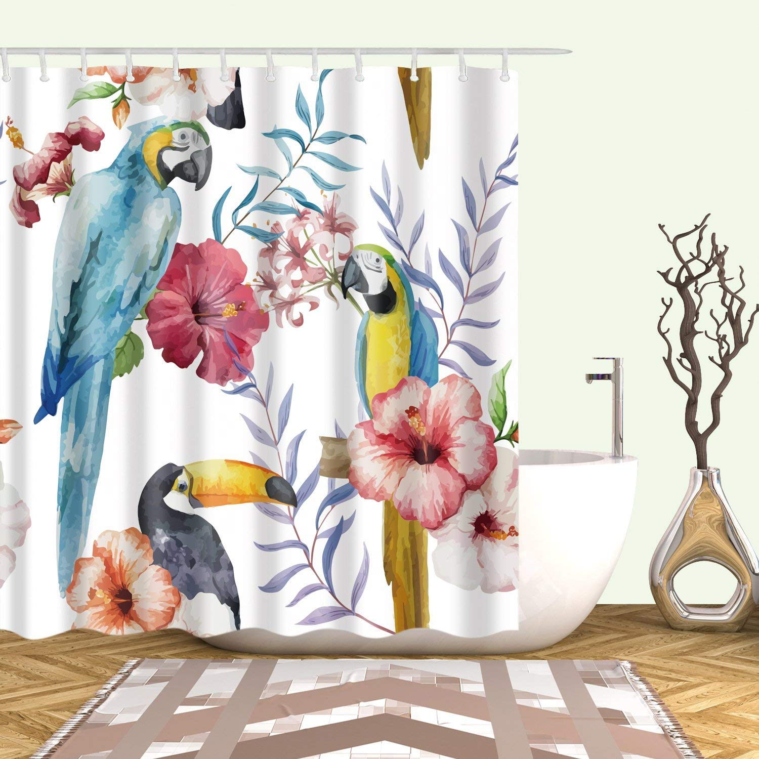 Parrot Home Decoration Accessories Bathroom Natural Scene Shower Curtains Waterproof Anti Mildew With Hooks