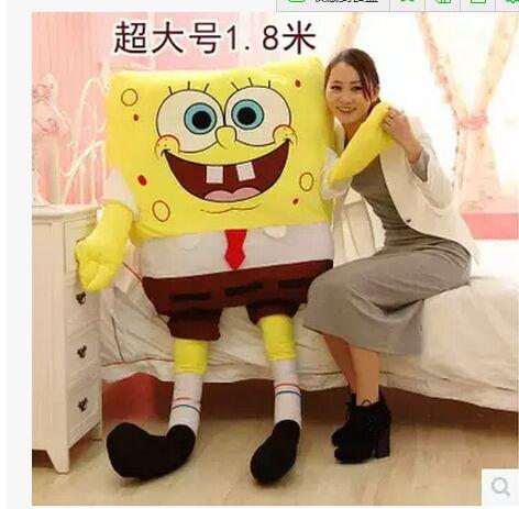 huge stuffed toy , larggest size 180cm Spongebob toy the cartoon Spongebob ,hugging pillow suprised gift s0880
