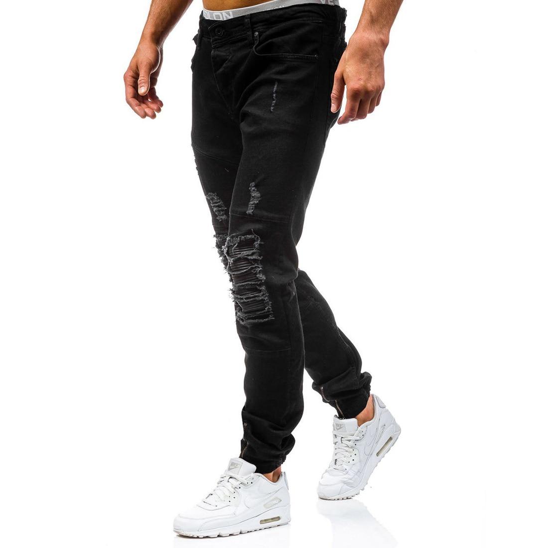 Mens Distressed Ripped Biker Slim Fit   Jeans   Moto Retro Denim Pants