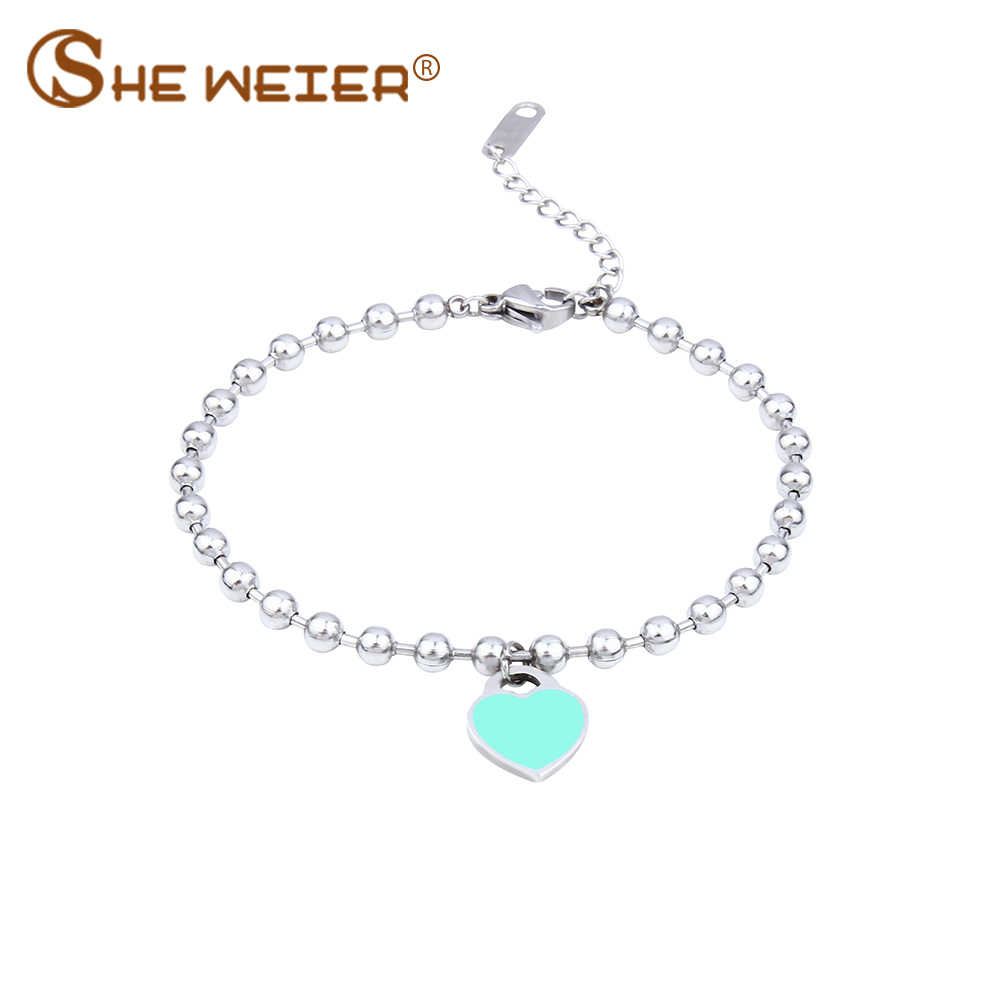 SHE WEIER charm bracelets& bangles beads femme gifts for women female stainless steel jewelry heart bead