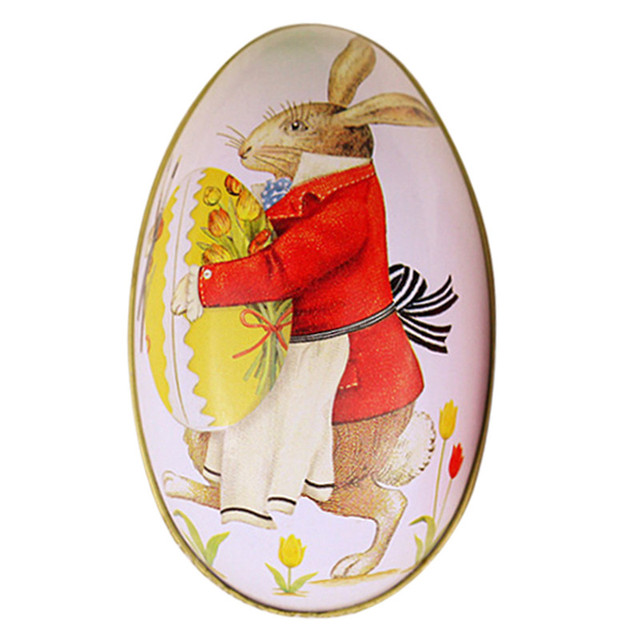 Oval pastel painting ester egg box rabbit printed decorative candy oval pastel painting ester egg box rabbit printed decorative candy iron box lovely easter egg gift negle Image collections
