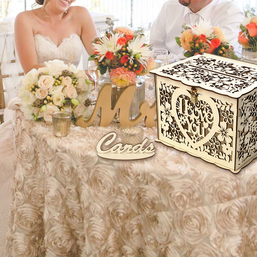 Fast Delivery Wedding Card Box Baby Shower Decorations Vintage Card Box With Lock DIY Money Box Wooden Gift Box