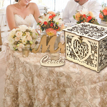 Fast Delivery Wedding Card Box Baby Shower Decorations Vintage with Lock DIY Money Wooden Gift