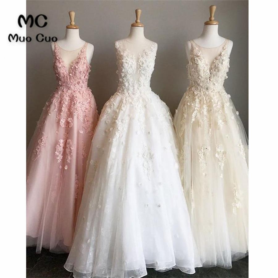 Elegant 2018 Prom dresses Long Sleeveless with Appliques Scoop Neck Floor Length graduation dresses Evening Prom Dress for Women