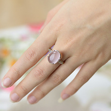 Real Pure Sterling Silver Ring 925 Vintage Antique Womens Jewellery Rose Quartz Natural Stone Elegant Fine Jewelry Ringen