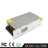 12A 720W LED Light Belt Driver Switching Power Supply 110/220VAC DC60V Constant Voltage Transformer Monitoring CCTV CNC Motor