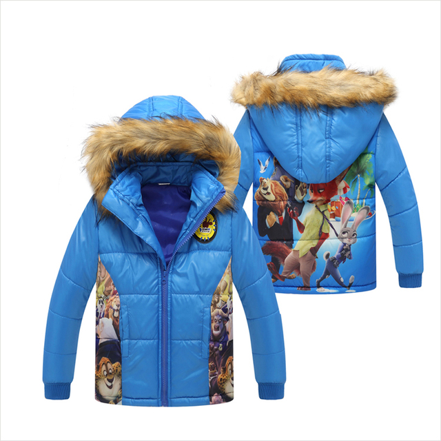 New Arrival 2016 Winter Male Children Coat Baby Boys Zootopia Jackets Warm Wind Outdoor Kids Cotton-Padded Clothes Casual Parkas