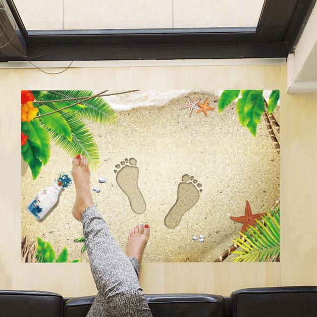 Us 379 22 Off3d Plaża ślady Naklejki Innowacyjne Drzwi łazienki Maty Podłogowe Dekoracyjne Pcv Wodoodporne Naklejki ścienne Dekoracje Do Domu