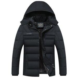 Image 3 - Parka Men Coats 2020 겨울 자켓 남성 두건 후드 방수 아웃웨어 웜 코트 아버지 의류 캐주얼 남성 오버 코트