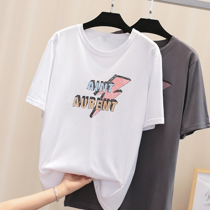 Women Summer O-Neck T-shirt 100% Cotton High Quality Casual Loose Short Sleeve Top Brand Female SL Letter Print Solid Color Tees(China)