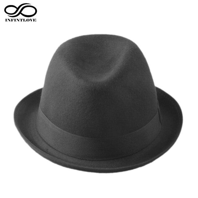 LUCKYLIANJI Retro Hard Felt Women Men Fold Brim Billycock Sag Top Bowler  Derby Jazz Fedora Hat (One Size 57cm) 70556fdb443
