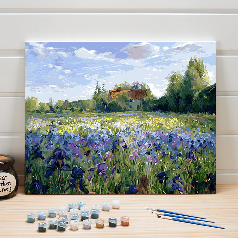 Paint Oil Painting By Numbers Landscape Pastoral Flowers DIY Acrylic Canvas Coloring Art Wall Pictures For Living Room Adult Kit