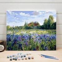 Peinture à numéros maison dans un champs de fleur