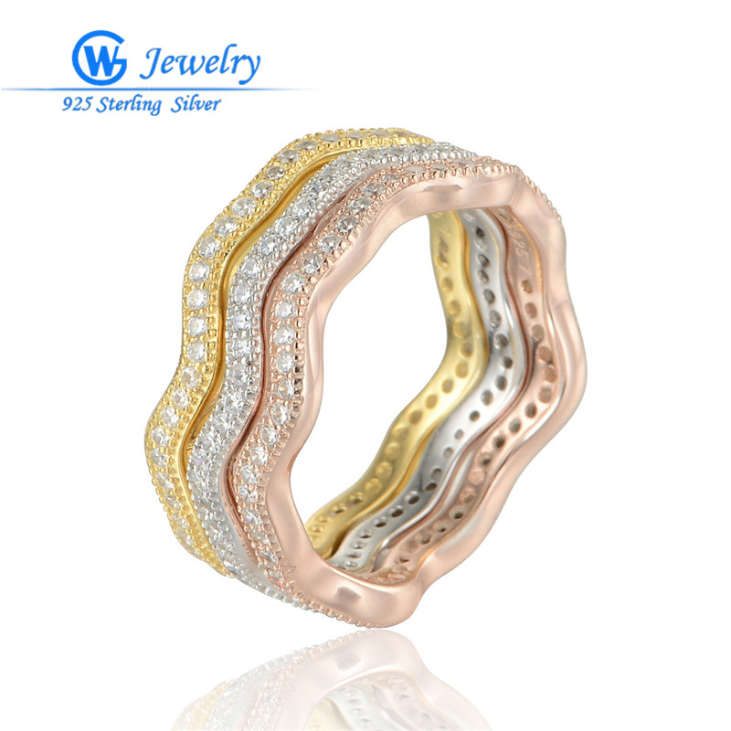 newbark high quality big cz half eternity rings rose gold and silver color prongs crown wedding jewelry rings for women GW Jewelry 925 Sterling Silver Rings Three Mixed Color Gold Color and Rose Gold Wedding Rings For Women RIPY031H20