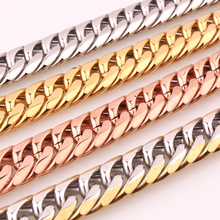 Polishing Silver/Gold/Rose Gold Color Stainless Steel 7-40 Inches Option Men 13/16mm Wide Curb Cuban Chain Necklace Or Bracelet