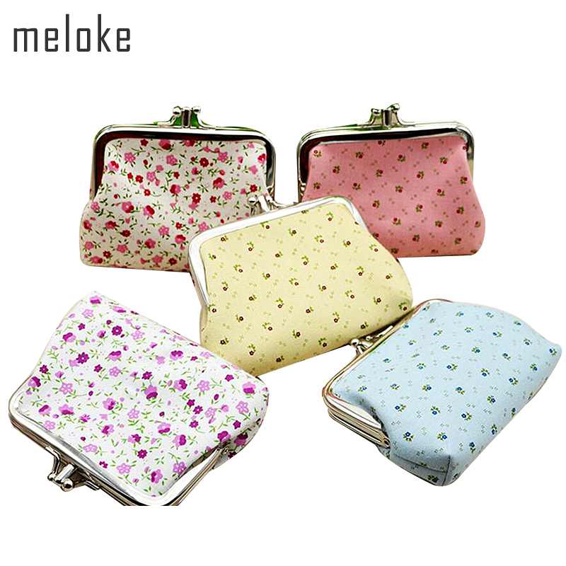 Meloke 2018 small pouch Wallets flower printed pouch Children purse For Girls metal hasp Women Purses 4pcs/lot MN228