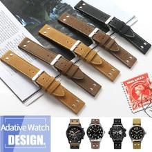 20mm 22mm Double Screw Universal Calfskin Leather Genuine Watch Band For Hamilton Field Aviation Wrist Belt Watch Strap Bracelet