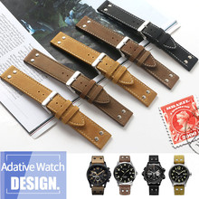 20mm 22mm Double Screw Universal Calfskin Leather Genuine Watch Band For Hamilto