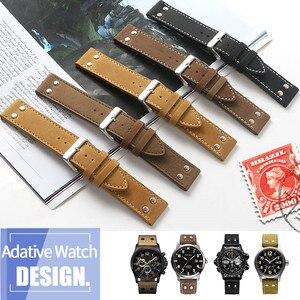 Image 1 - 20mm 22mm כפול בורג אוניברסלי עגל עור אמיתי צפו בנד עבור המילטון שדה תעופה יד חגורת שעון רצועה צמיד