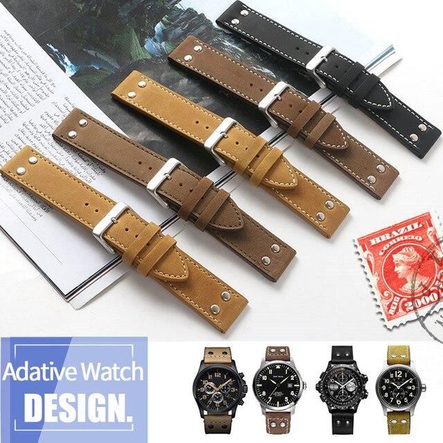 20mm 22mm כפול בורג אוניברסלי עגל עור אמיתי צפו בנד עבור המילטון שדה תעופה יד חגורת שעון רצועה צמיד