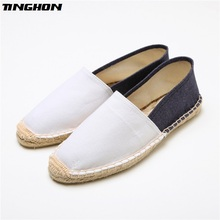 Fashion Ethnic Casual Espadrilles White dark blue Flat New Women Spring Printed Embroider Slip on Fishermen Hemp Rope Shoes hot spring 2017 new british style fashion women white blue jeans embroidery flower rivets slip on wedge pumps casual shoes