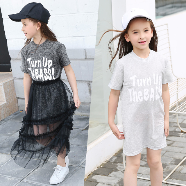 97e2391a4d9 Girl Summer Clothing Sets Short Sleeve T Shirt+Net Yarn Skirt Suits Casual  Two-piece Kids Clothing for Teens Outfits Costume