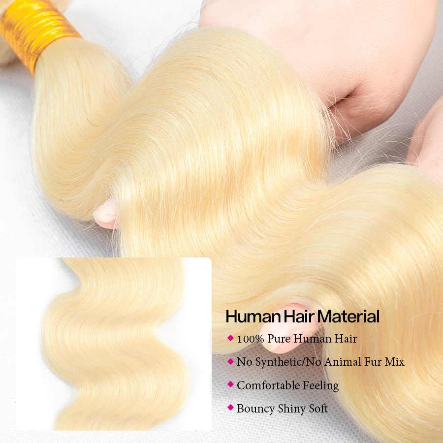 Cynosure 613 Honing Blond Haar Braziliaanse Haar Weefsel 3 Bundels Niet remy Hair Extensions Lichaam Wave Menselijk Haar Bundels