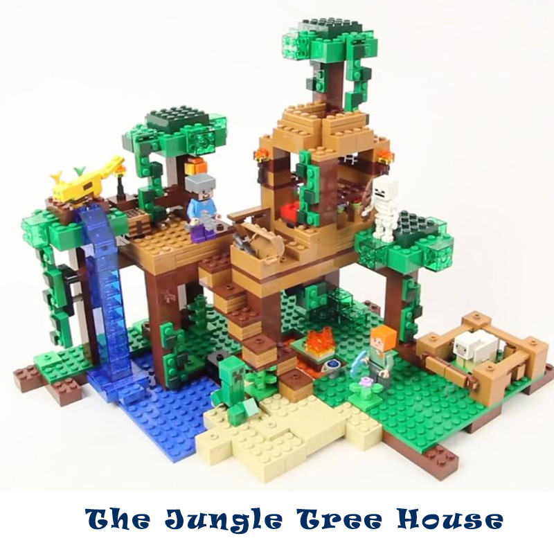 Model building kits compatible with lego my worlds Minecraft The Jungle Tree House model building toys hobbies for children уэллс г война миров the war of the worlds
