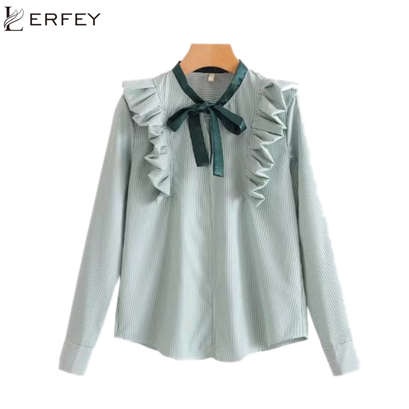 LERFEY Spring Blouses Women Elegant Blouse Shirts Stripe Loose Shirts Bow Ruffles Casual Blouse Female Tops Blusas Clothing