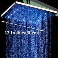 Wholesale And Retail LED Color Changing 12 Square Rain Shower Head Wall Mounted Shower Arm Chrome