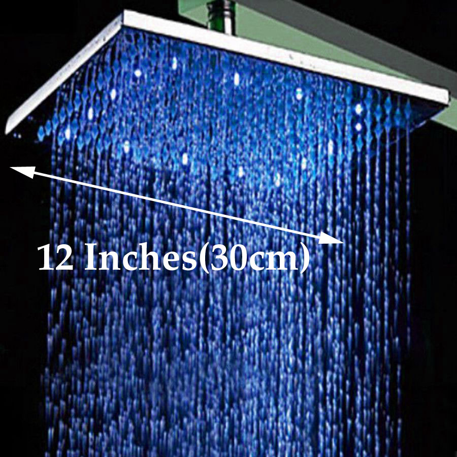 Wholesale And Retail LED Color Changing 12 Square Rain Shower Head Wall Mounted Shower Arm Chrome Finish Top Shower Sprayer luxury led color changing golden brass rain round shower head wall mounted over head sprayer